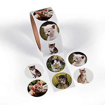 Roll of 100 Kitten Photo Stickers for Kids Crafts | Childrens Craft Stickers