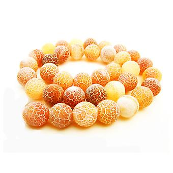 Strand 62+ Orange Frosted Cracked Agate 6mm Plain Round Beads GS16122-1