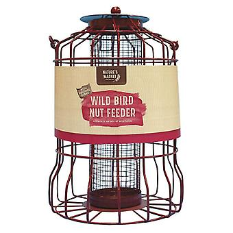 2 x Nature's Market Metal Hanging Wild Bird Nut Feeder with Squirrel Guard