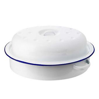 ENAMEL OVAL ROASTER AND LID 32.5x23.5x13.5CM