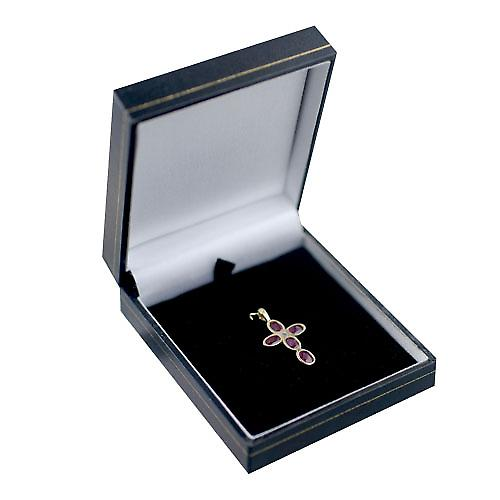 9ct Gold 25x16mm Cross set with 5 Rubies and 1 Pearl