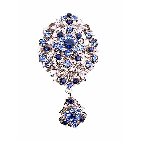 Trendy Sapphire Crystals Wedding Stylish Brooch