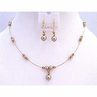 Golden Wire Swarovski Copper Crystals Bronze Pearls Necklace Jewelry