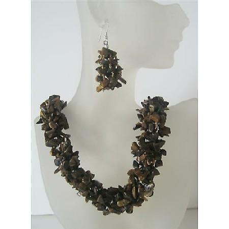 Tiger Eye Nugget Stone Chip Beads Handcrafte Necklace Sterling Silver Earrings