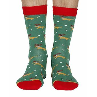 Dog with antlers men's soft bamboo crew socks in green | Doris & Dude