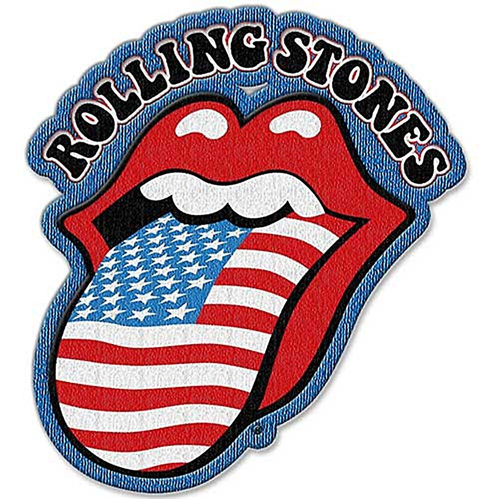 Rolling Stones Stars & Stripes Tongue shaped sew on / iron on cloth patch  (ro)