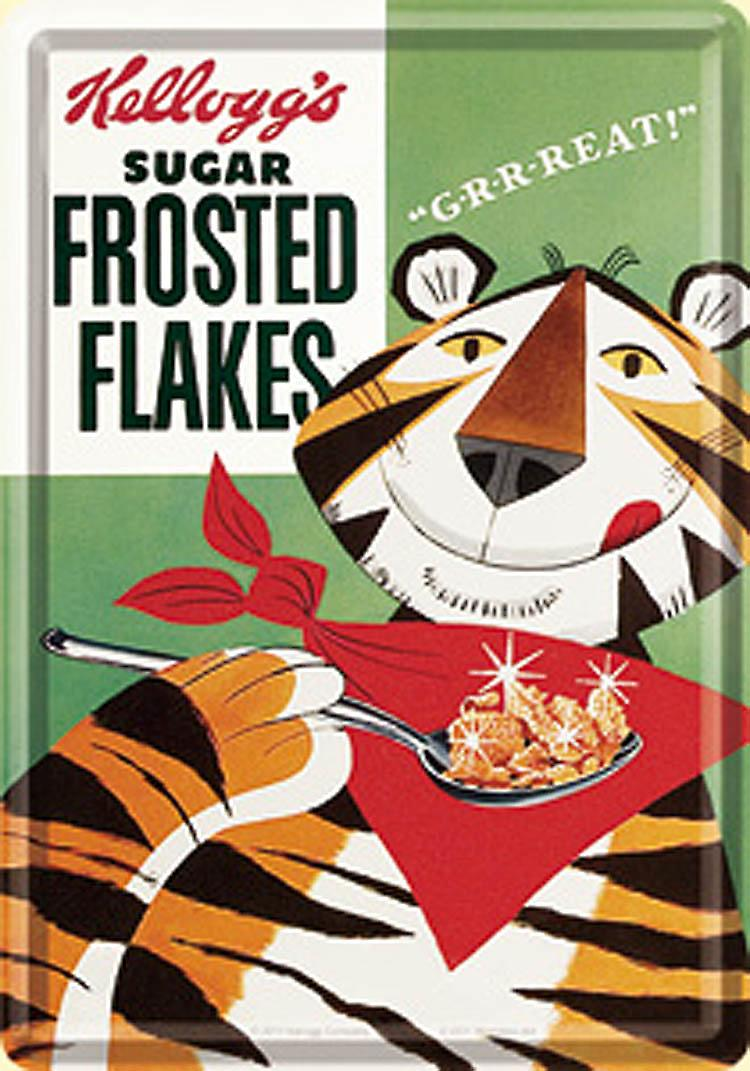 Kelloggs Frosted Flakes metal postcard / mini-sign  na