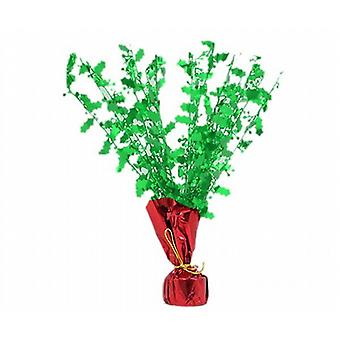 2 Foil Holly Leaf Party Table Centre Piece /Balloon Weight Green Top Red Base - (XA4622GR)