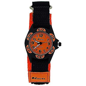 Ravel Analogue Boys Black & Orange Fabric Easy Fasten Strap Watch R1507.26