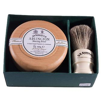 D R Harris Arlington Beech Wood Shaving Bowl and Shaving Brush Gift Set