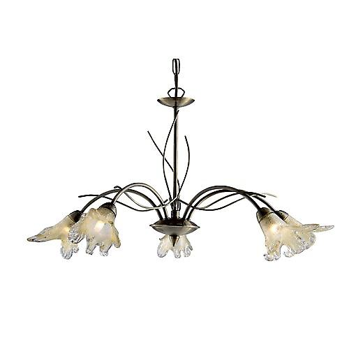 Searchlight 4495-5AB Lily 5 Light Antique Brass Fitting - Amber Petal Glass