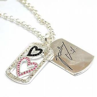 Jordan Double Heart and Signed Tag Pendant on 18 Inch Chain