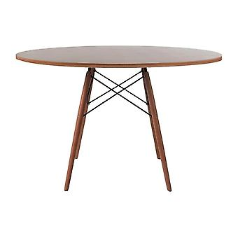 Fusion Living Eiffel Inspired Large Walnut Circular Dining Table With Walnut Wood Legs