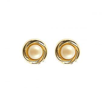 Evighet 9ct vitguld guld 7mm pärla i guld stud örhängen