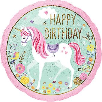 Anagram Happy Birthday Unicorn 2 Sided 18in Foil Balloon