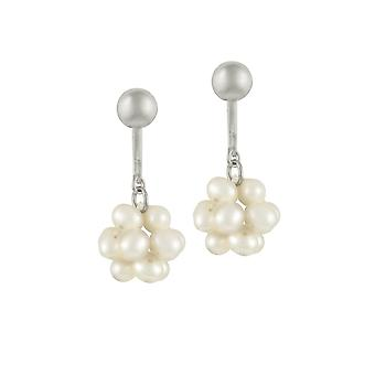 Eternal Collection Cluster White Freshwater Pearl Silver Tone Drop Clip On Earrings