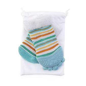 Baby Accessories - Nuby - Soothing Teether Sock Baby Blue Stripes New 80343