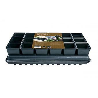 Professional Vegetable Tray Set 18 x 9cm Sq Pots Tray  Water Tray & Cap Mat