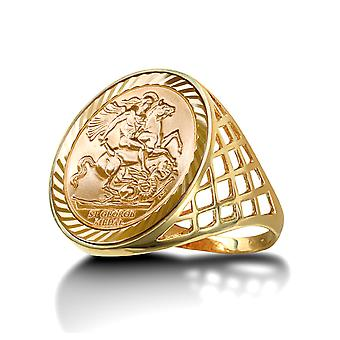 Jewelco Londen mannen Solid 9ct Yellow Gold St George Dragon Slayer mand Full-Sovereign-grootte ring