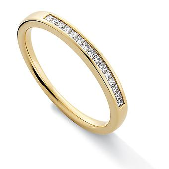 Jewelco London 18ct Gelbgold Diamant 0,15 ct Prinzessin Ewigkeit Ehering - 2,4 mm
