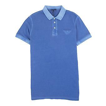 Armani Jeans Eagle Logo Garment Dyed Polo Shirt Sky Blue