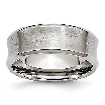 Stainless Steel Engravable Beveled Edge Concave 8mm Brushed Band Ring - Ring Size: 8 to 14