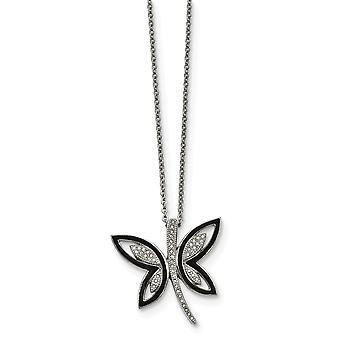 Stainless Steel Enameled With Preciosa Crystal Butterfly Necklace - 18 Inch