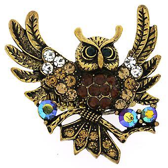 Oversized Swarovski Crystal vliegen Owl verstelbare Ring