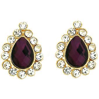 Clip On Earrings Store Victorian Amethyst Purple Crystal Teardrop Clip On Earrings