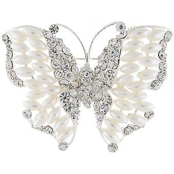 Brooches Store Ivory Pearl and Clear Crystal Bridal Butterfly Brooch