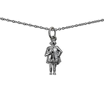 Silver 17x9mm William Shakespeare Pendant with a rolo Chain 14 inches Only Suitable for Children