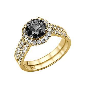 14K gul guld 1,50 CTW sorte diamantring med diamanter Halo dobbelt skanken Designer