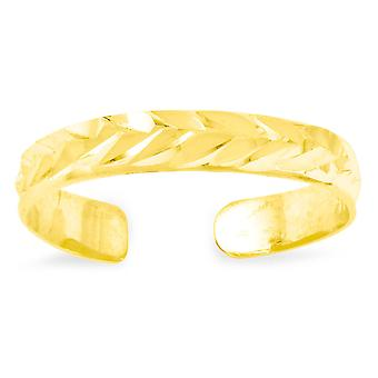 14k Yellow Gold Sparkle-Cut Toe Ring - .4 Grams