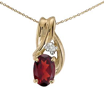 14k Yellow Gold Oval Garnet And Diamond Pendant with 18