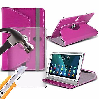 iTronixs - Alcatel Onetouch Pixi 4 (7 inch) Tablet Case PREMIUM PU 360 Rotating Leather Wallet Folio Faux 4 Springs Stand with Tempered Glass LCD Screen Protector Guard - Pink
