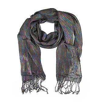 Sheer Black Shawl with Multicolored Metallic Threads
