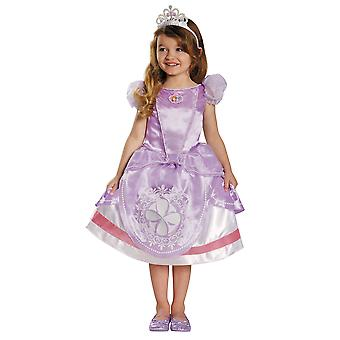 Sofia The First Disney Deluxe Royal Princess Toddler Girls Costume & Tiara 3T-4T