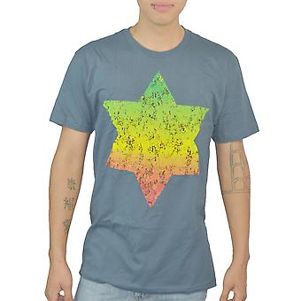 Bob Marley Reggae Star Of David Graphic Frontside Printed Men's Grey T-shirt