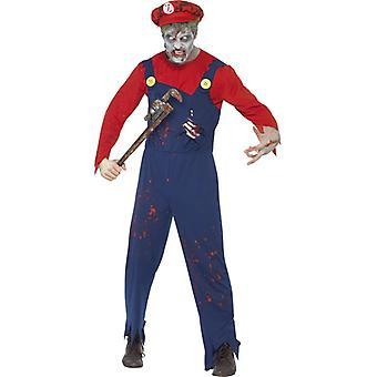 Zombie Mario Klempner Kostüm Halloween Zombiewalk Herren
