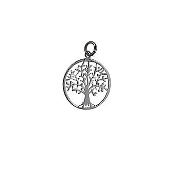 Silver 24mm round 1mm thick Tree of Life Pendant or Charm