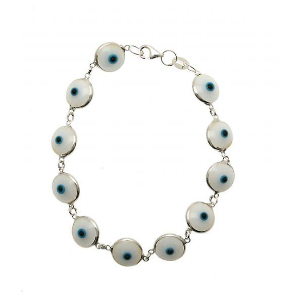 W.A.T Sterling Silver kwaad witte Eye armband