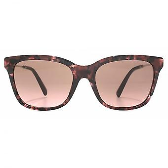Valentino Metal Temple Square Sunglasses In Pink Havana