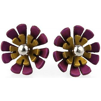 Ti2 Titanium Ten Double Petal Polished Bead Flower Stud Earrings - Brown