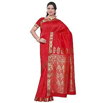 Rosso piccante - Sari di seta di Benares arte / tessuto Saree/danza del ventre (India)
