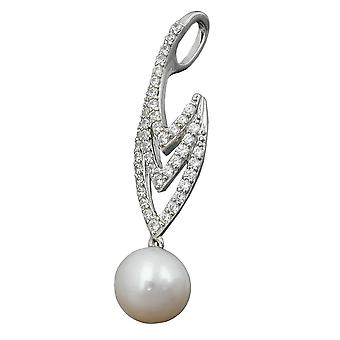 Pearl pendant Freshwater Pearl cubic zirconia rhodium plated 925 sterling silver
