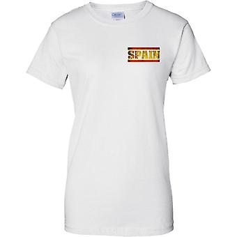 Spain Grunge Country Name Flag Effect - Ladies Chest Design T-Shirt