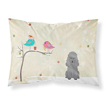 Christmas Presents between Friends Poodle Silver Fabric Standard Pillowcase