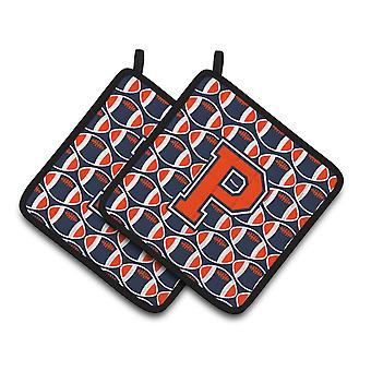 Letter P Football Orange, Blue and white Pair of Pot Holders