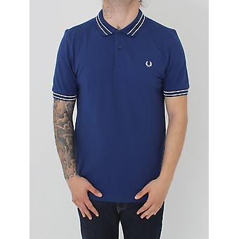 Fred Perry Tramline Tipped Pique Polo - Medieval Blue