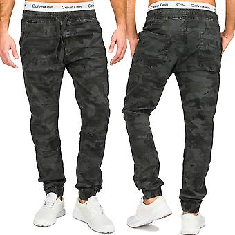 Herren Chino Jeans Hose 5-Pocket Stoffhose Baumwolle Camouflage Tarnmuster Army Armee Slim Fit